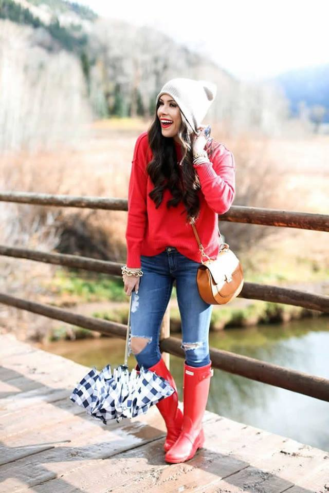 Dazzling Red Sweater, Ripped Jeans And Red Ankle Shoes