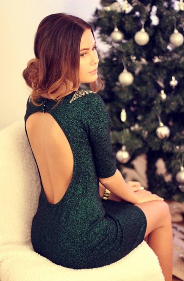 Deep Green Open Back Sequin Party Dress