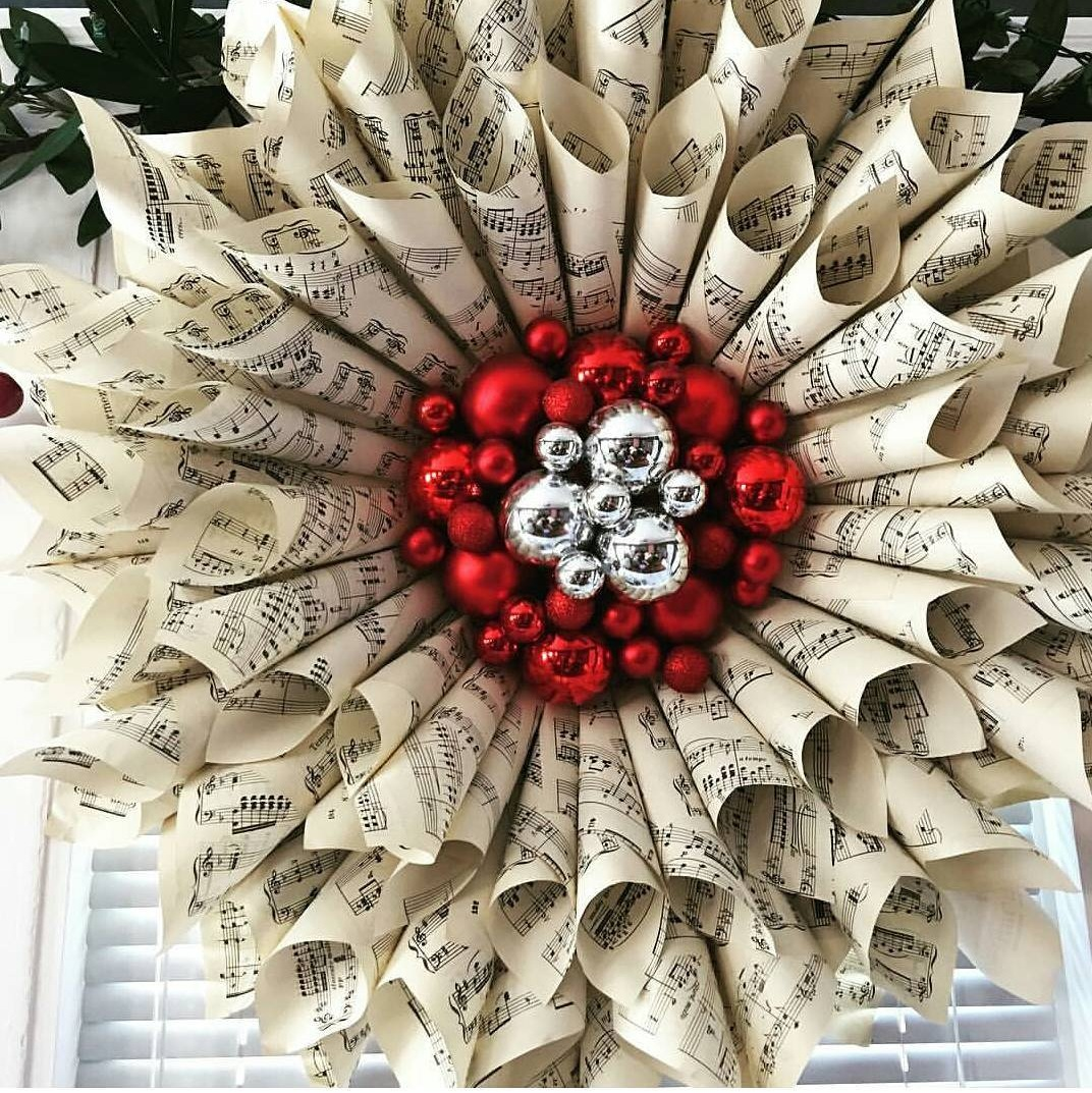 Designer Paper Wreath With Red & Silver Ornaments
