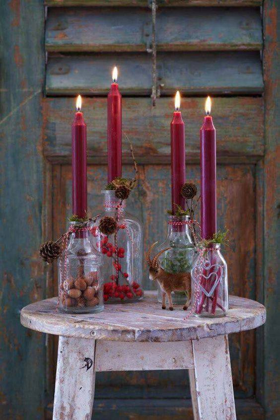 Empty Bottles Used As Candle Holders