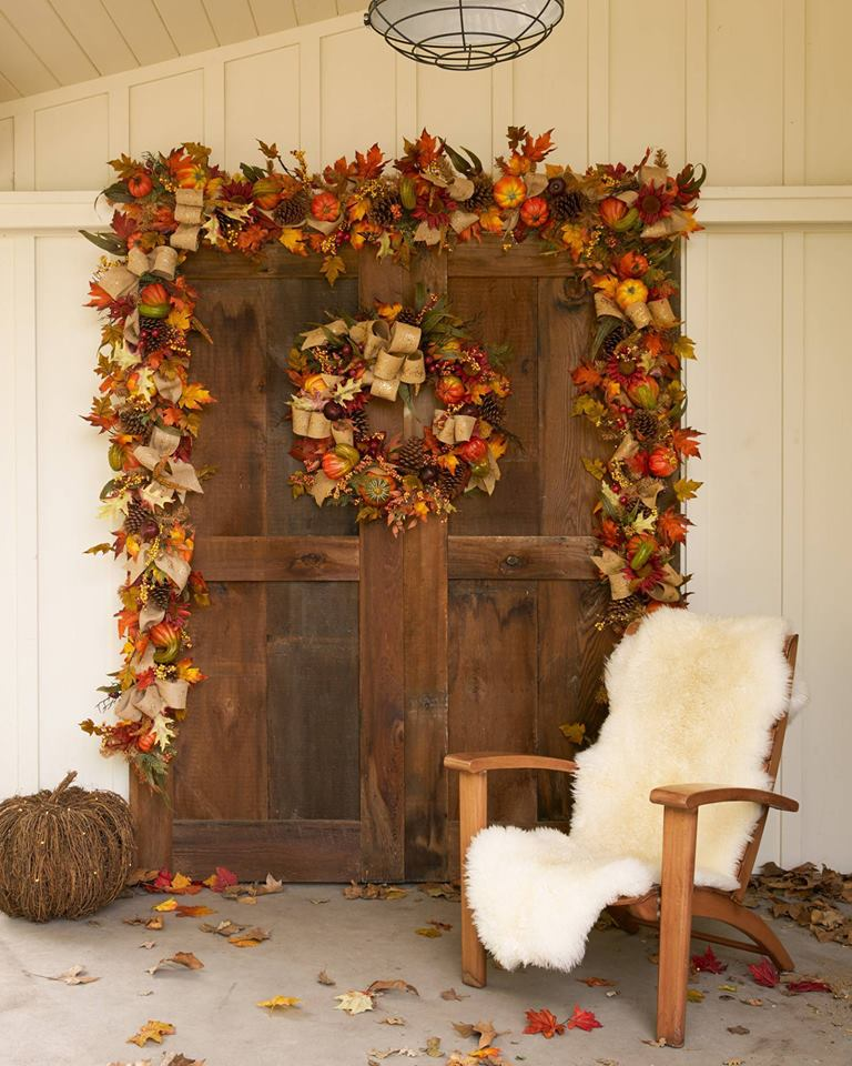Exclusive Harvest Wreath And Garland On Front Porch
