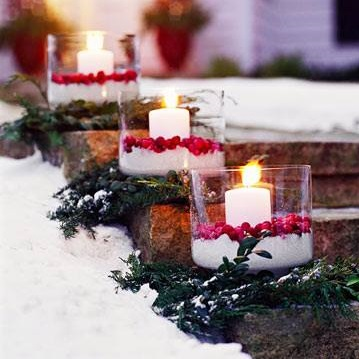 Extraordinary Outdoor Decoration With Floating Candles In Glass Vase With Cranberries And Faux Snow