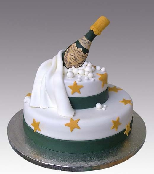 Eye-Catching Cake With Champagne & Stars