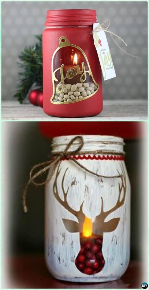 Fabulous DIY Strenciled Mason Jar Candle Holder