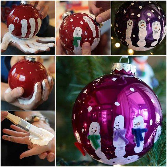 Fabulous Fingerprint Snowman Ornaments