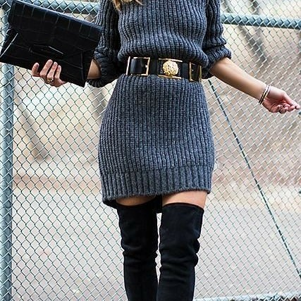 Fabulous Grey Sweater Dress With Leather Waist Belt And Thigh Shoes