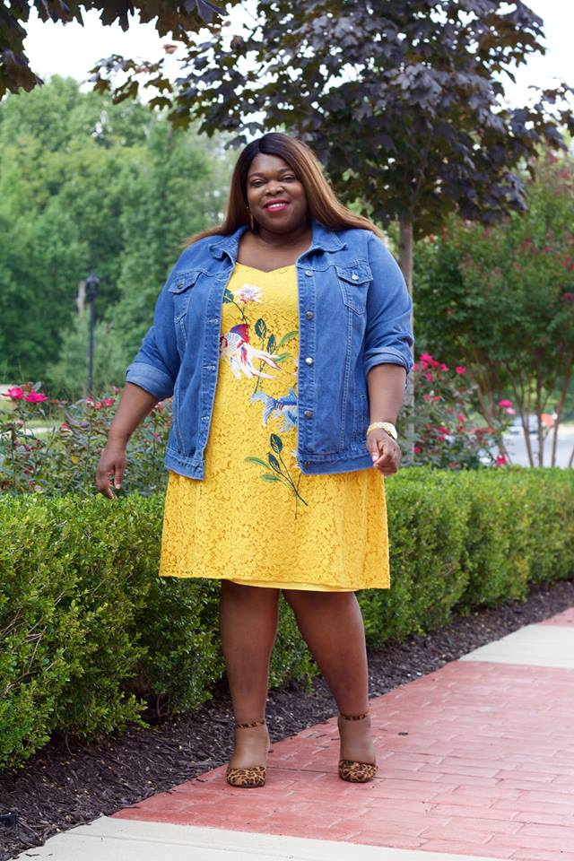 Fabulous Yellow Short Dress With Denim Jacket And Leopard Print Shoes
