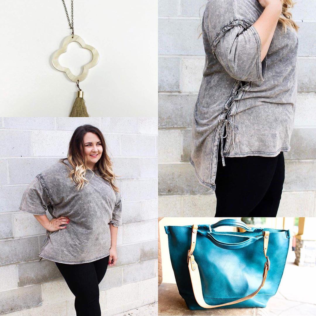 Fantastic Grey Warm Top With Jeans, Handbag And Necklace