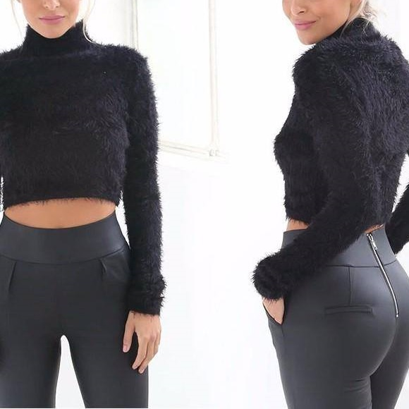 Faux Feather Cropped Sweater Paired With Back Zip Trouser