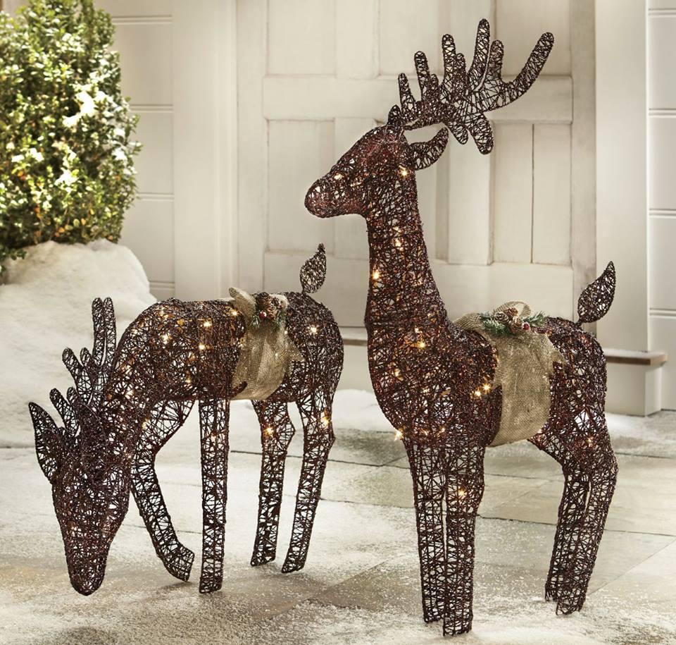 Glamarous Natural Reindeer Decor In Yard