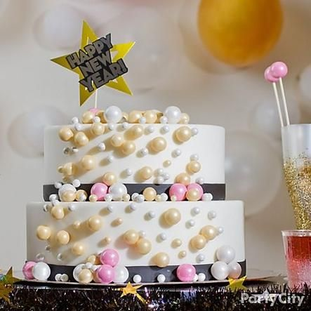 Glamorous Bubbly Effect New Year Eve Cake