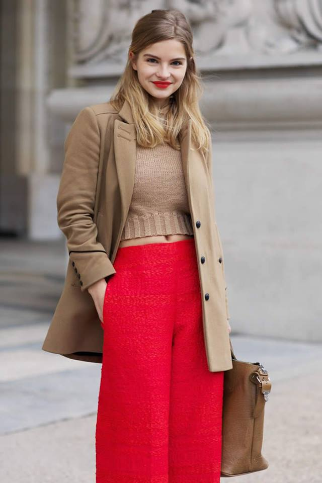 Glamorous Plane Crop Sweater Paired With Red Palazzo Pant And Warm Coat