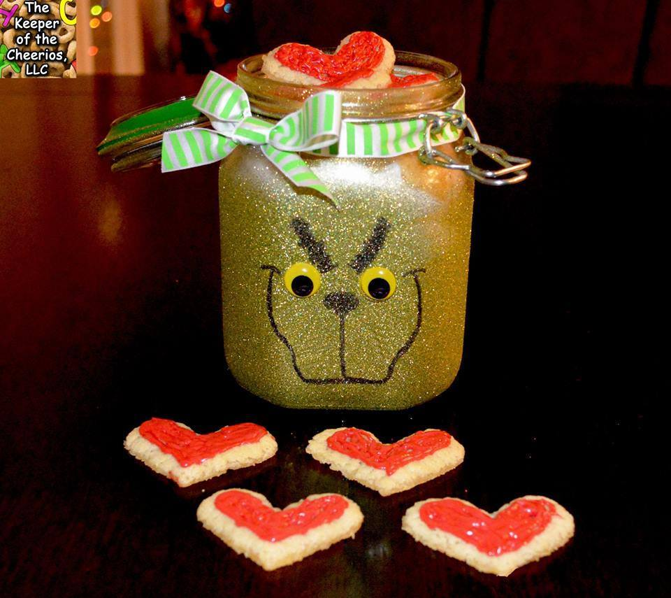 Glittery DIY Grinch Cookie Jar