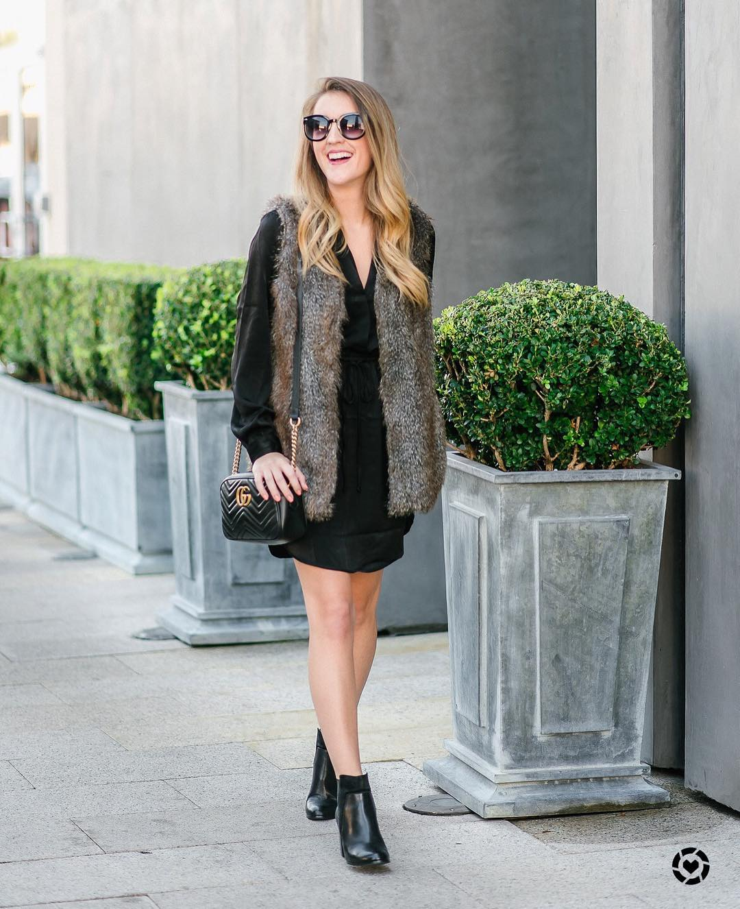Gorgeous Black Full Sleeves Dress With Half Sleeves Fur Jacket And Fall Ankle Boots