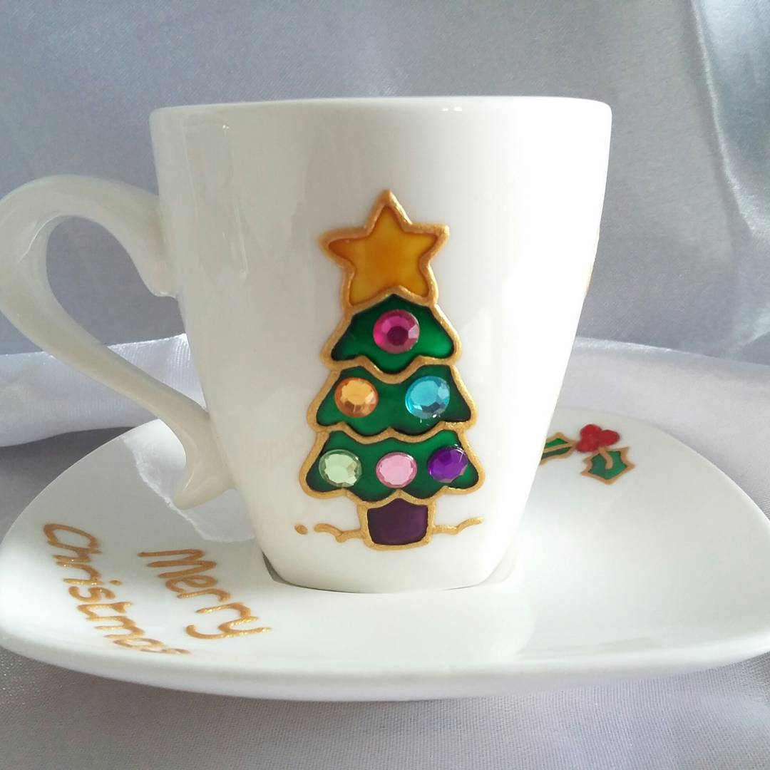 Handpainted Xmas Espresso Cup & Saucer Decorated With Glass Rhinestone Baubles