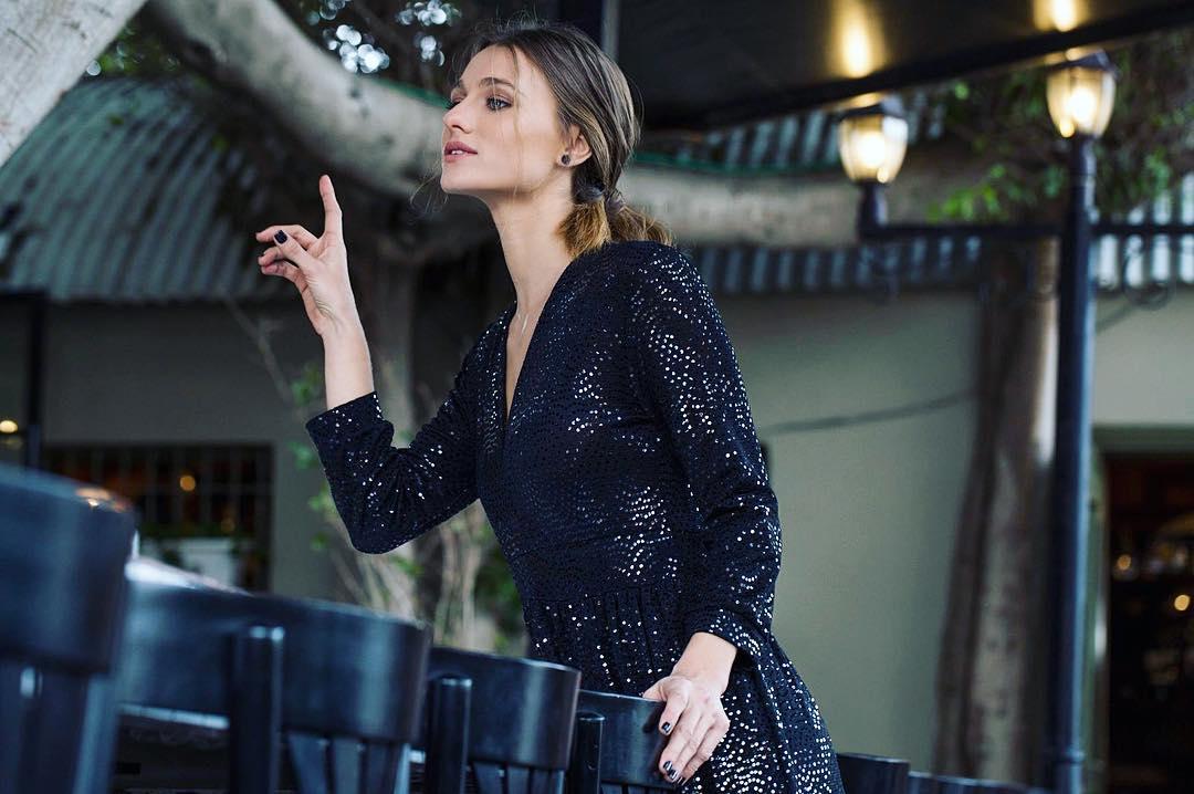Impressive Black Full Sleeves V-Neck Glitter Dress For Party