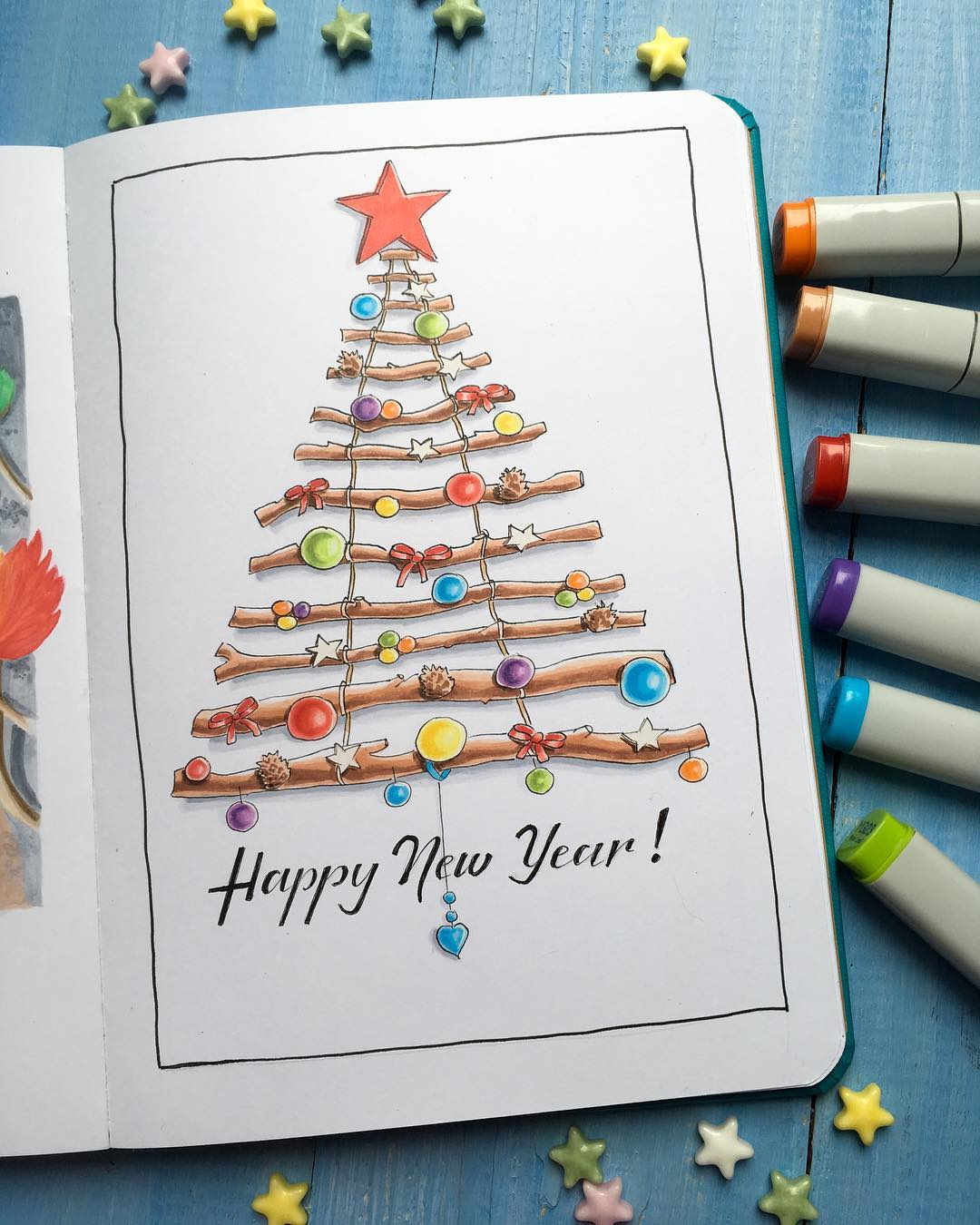 Impressive Christmas Tree Card To Wish New Year