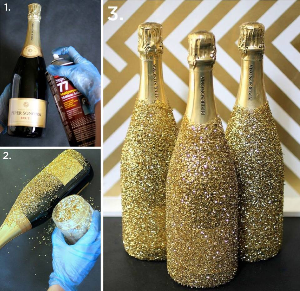 30 fun and thoughtful diy new year gifts for your beloved for How to decorate a bottle with glitter