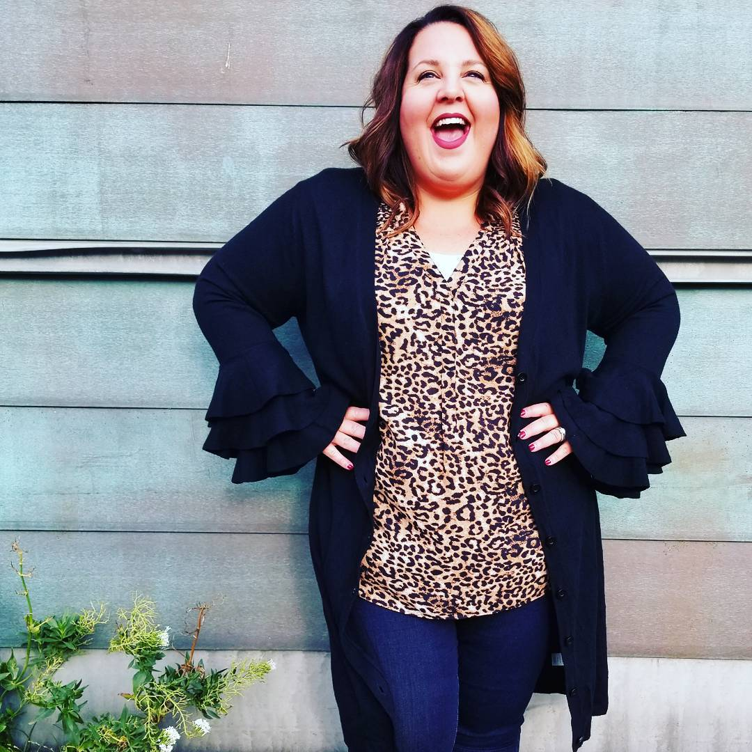 Leopard Print V-Neck Top With Jeans And Bell Sleeves Cardigan