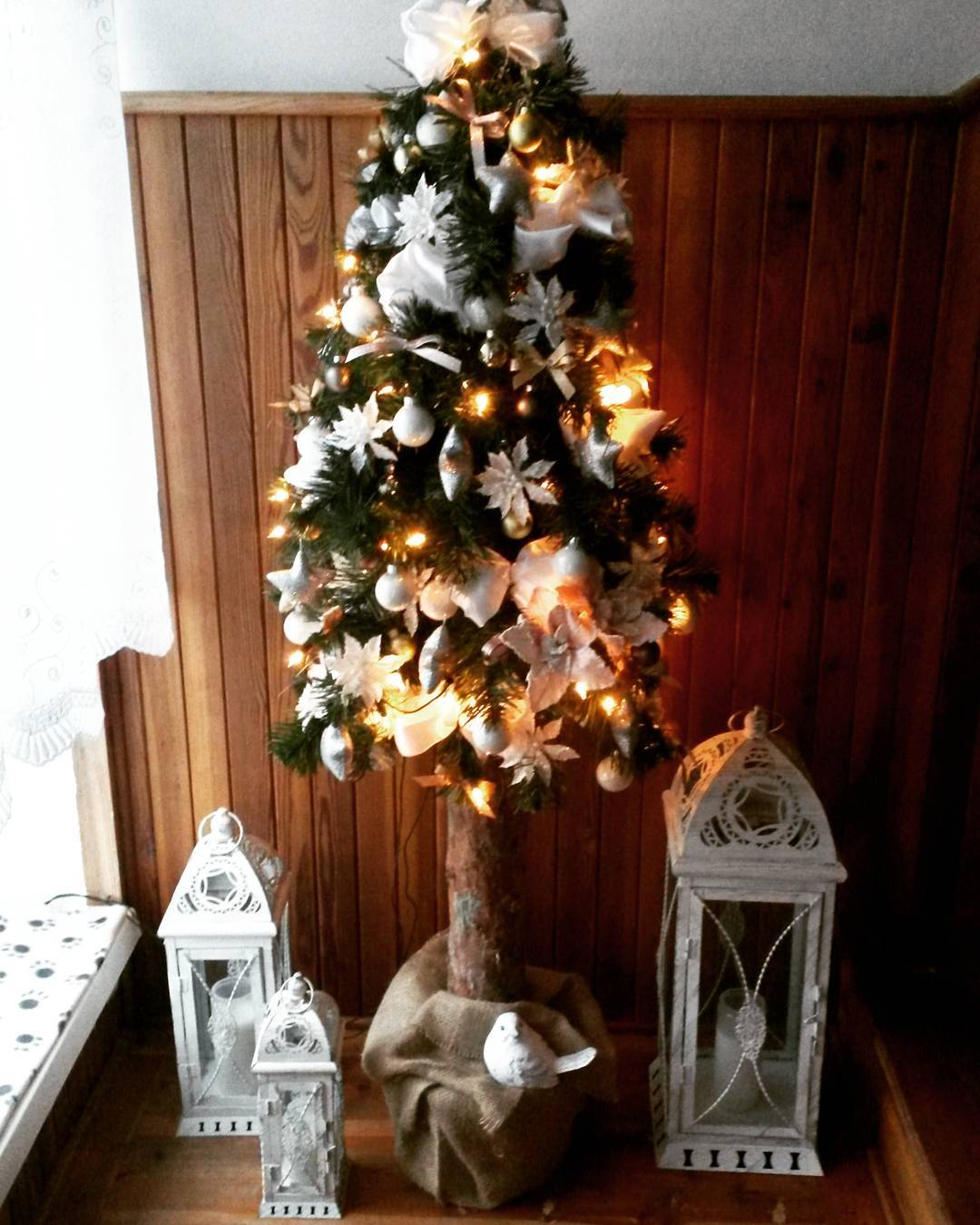 Little Christmas Tree Decorated Woth Snowflakes And Ornaments