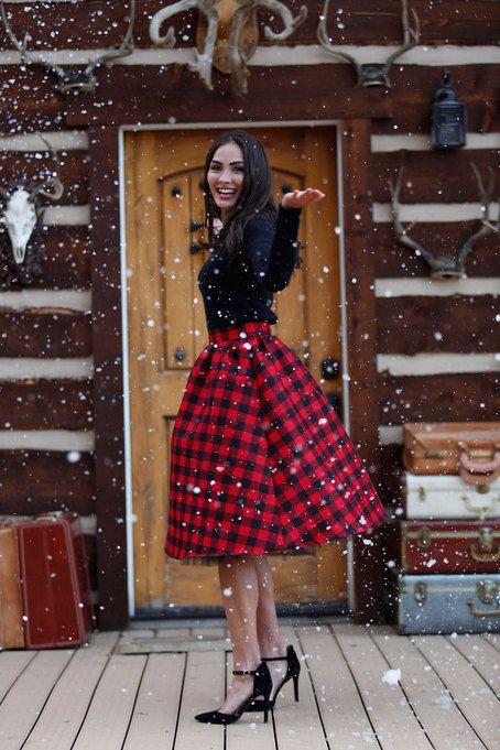 Lovely Black Top With Red & Black Gingham Skirt & Black Heels