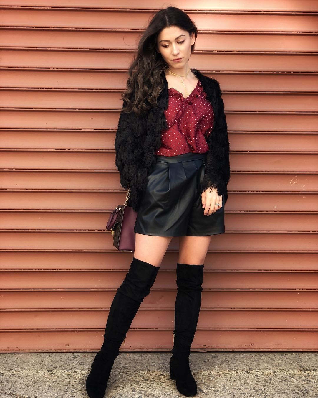 Maroon Button Down Polka Dots Shirt, Leather Mini Skirt, Faux Jacket With Crossbody Bag And High Thigh Shoes