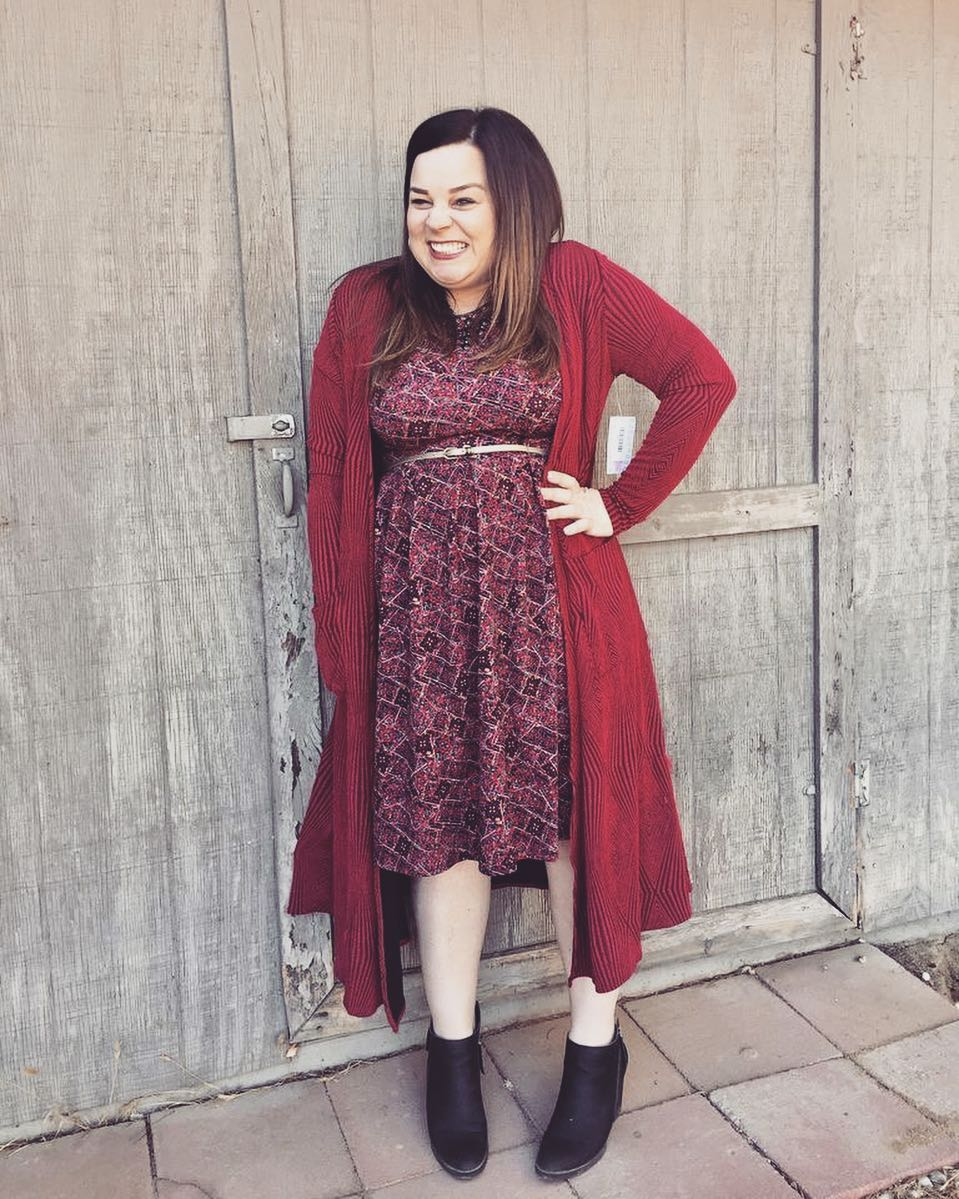 Maroon Printed Midi With Open Long Sweater