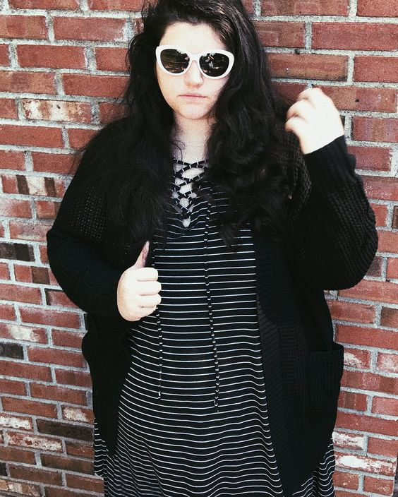 Marvelous Black & White Stripes Dress With Black Knit sweater With Pockets