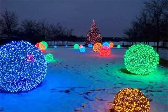 Marvelous Colorful Lights Balls In Open Area