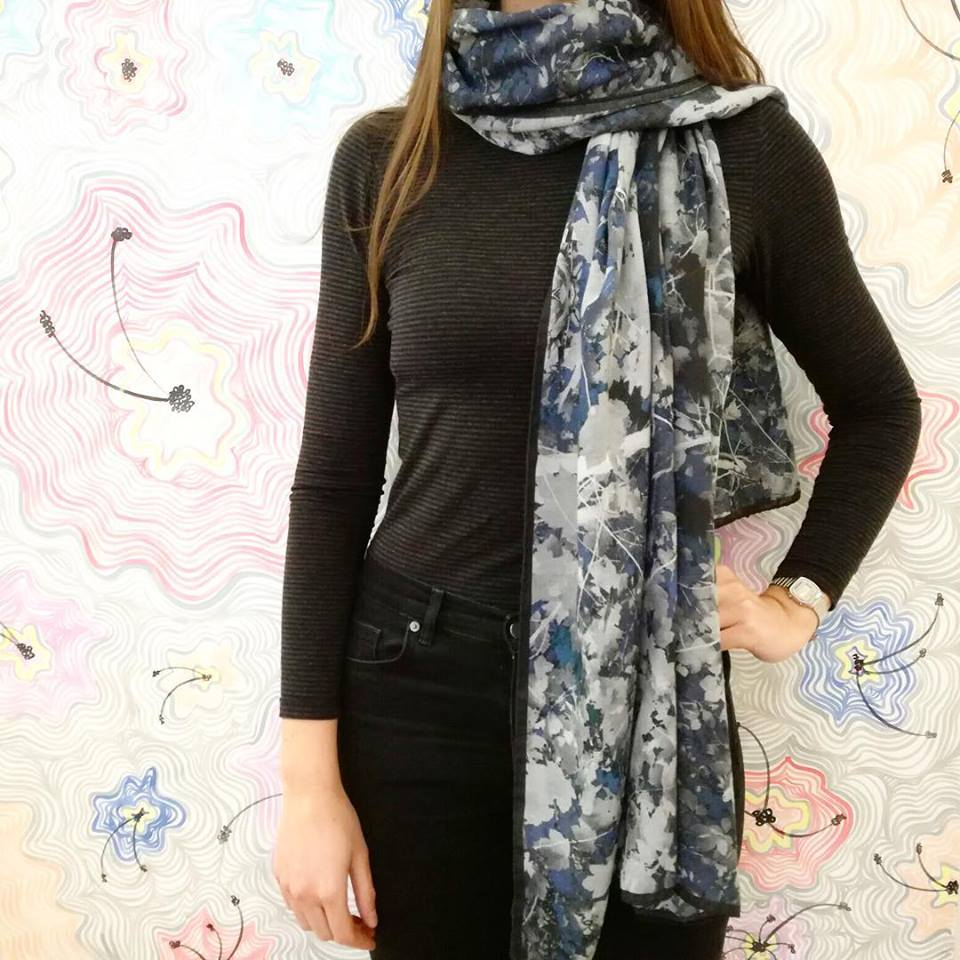 Marvelous Printed Warn Scarf With Simple Top And Jeans