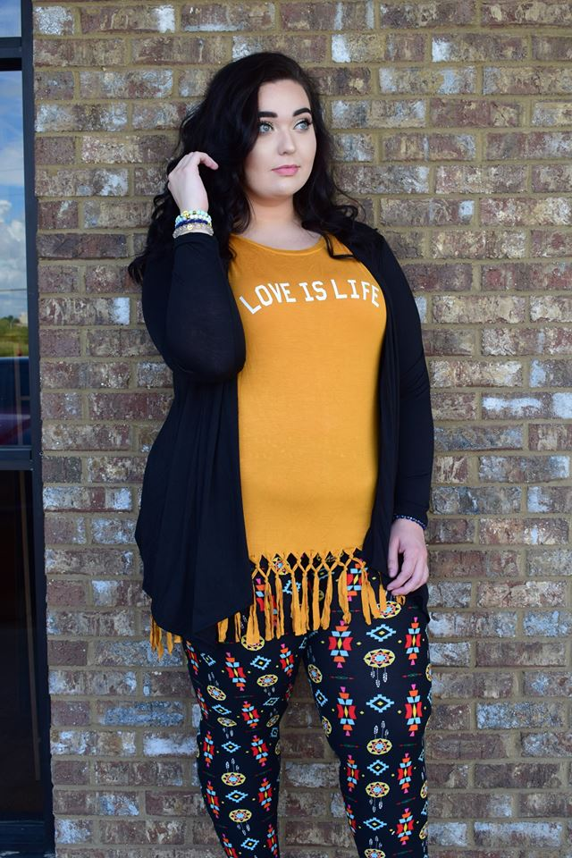 Mustard Fringe Top With Printed Jegging And Shrug