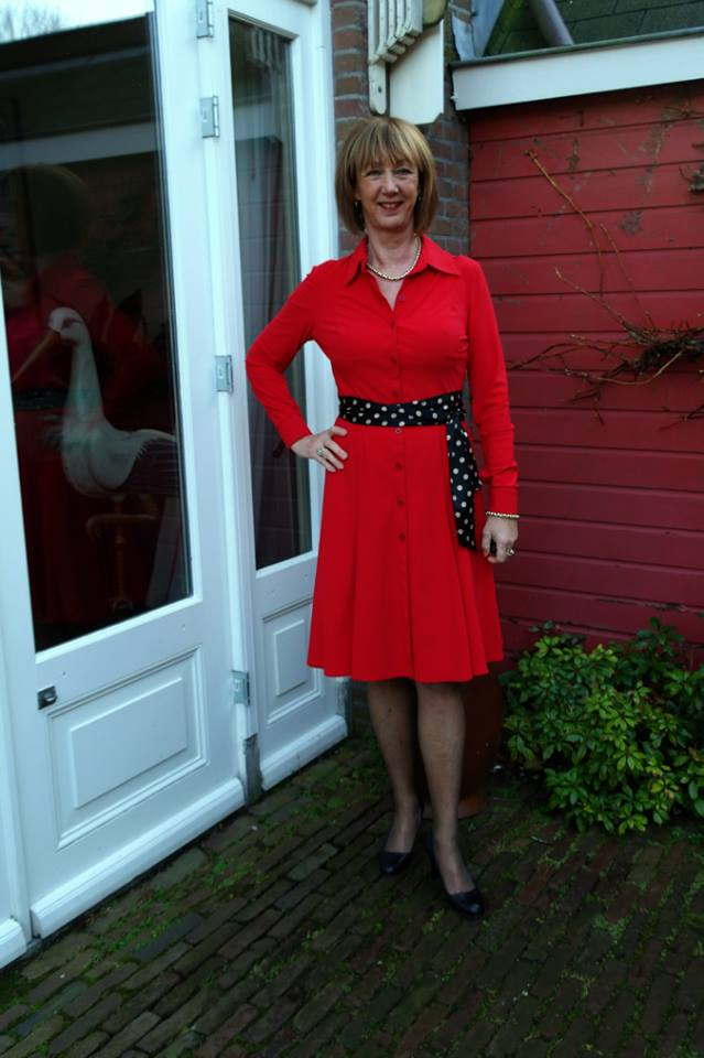 Nice Red Dress With Polka Dots Belt