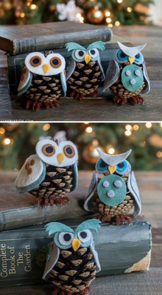 Pine-Cone Is Decorated In Shape Of Owl