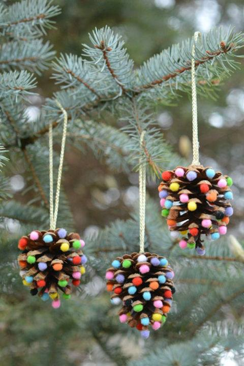 Pinecone Icing Candy And Ribbon Ornaments For Tree