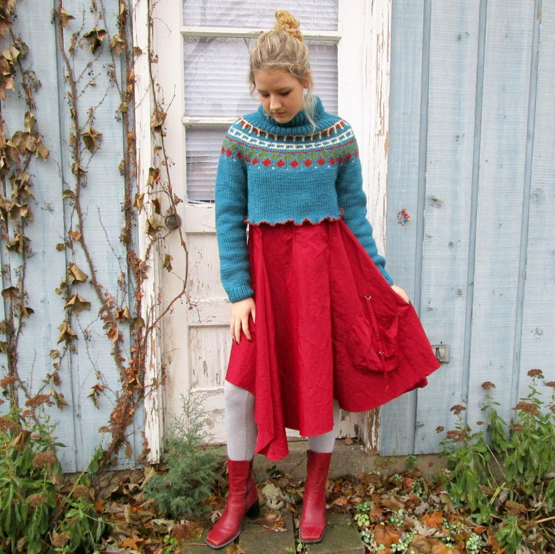Pretty Red Dress With Cropped Sweater And Shoes