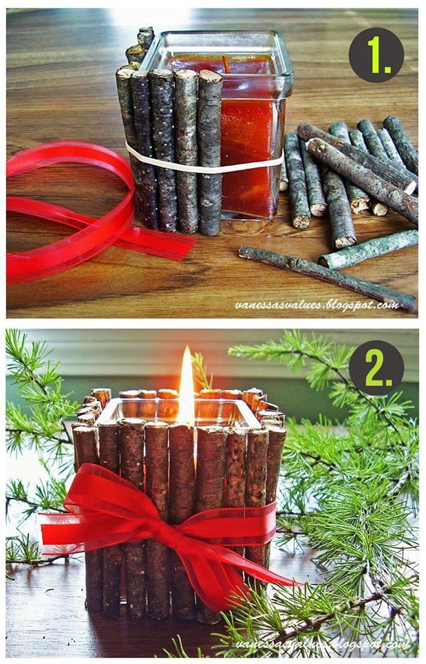 Pretty Rustic DIY Candle Decor