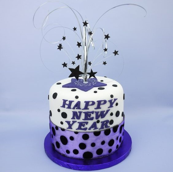 Purple & White New Year Cake