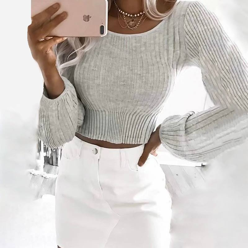 Ravishing Long Sleeves Cropped Sweater With High Waist White Jeans