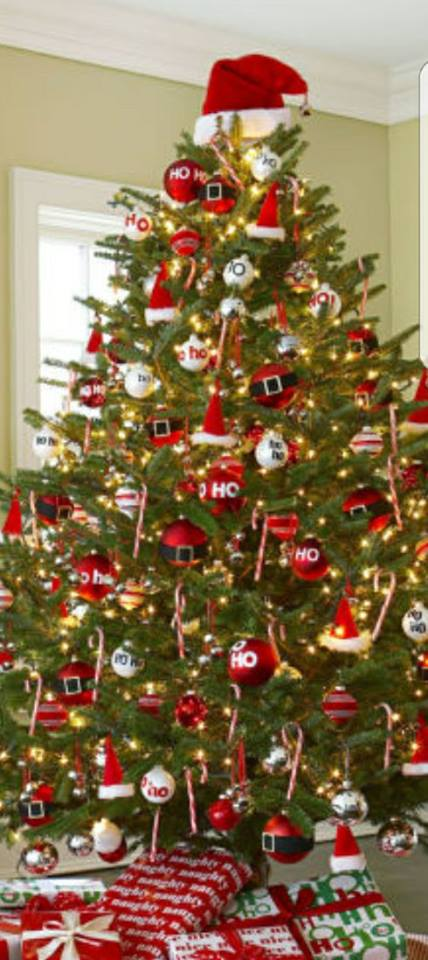 Ravishing Santa Ornaments Decorated On Christmas Tree