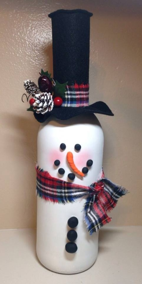 Recycled Old Bottle As Snowman