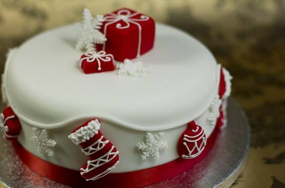 Red And White Cake Deccor