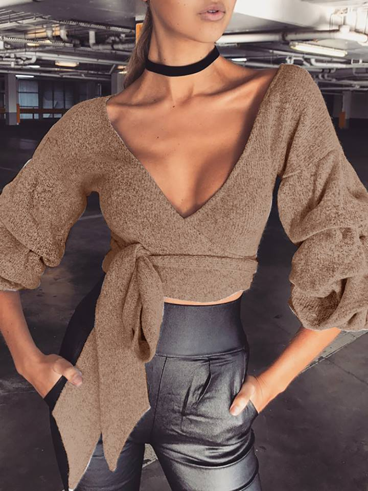 Rocking Low Cut Knitted Belted Bandage Cropped Sweater With Leather High Waist Legging
