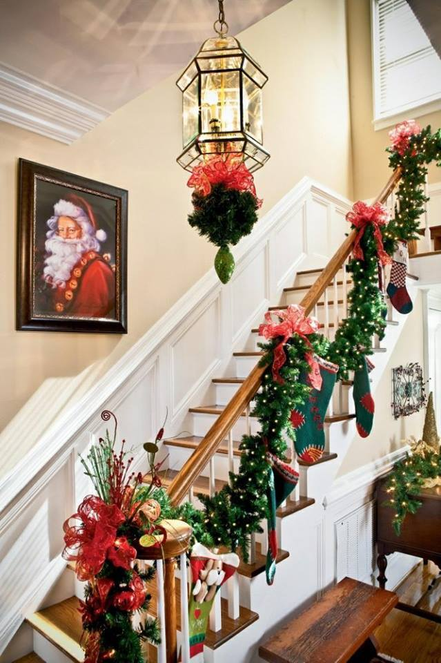 Rocking Stairs Decoration With Flowers, Ribbon And Ornaments