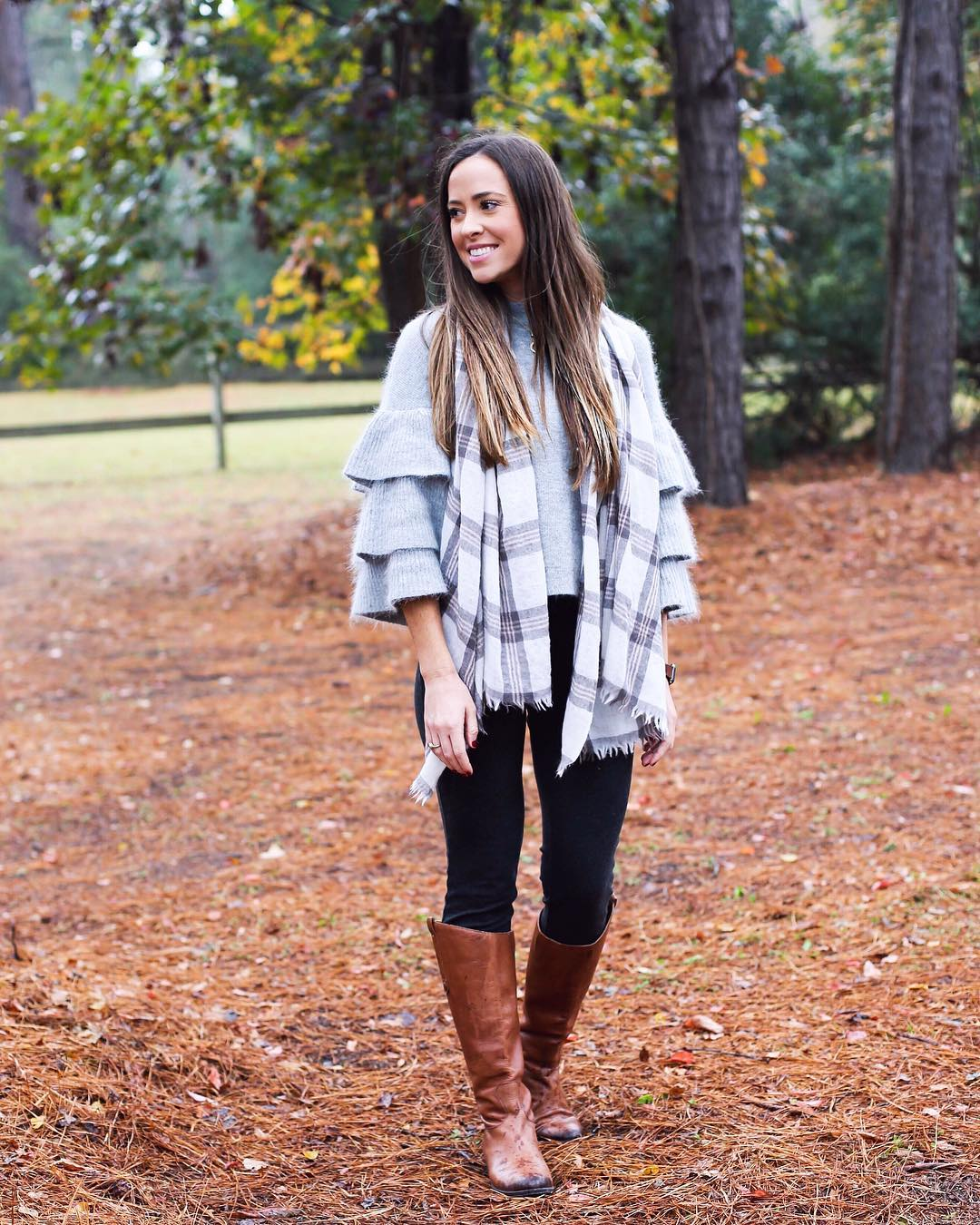 Ruffle Sleeve Sweater With Jeans And Plaid Scarf