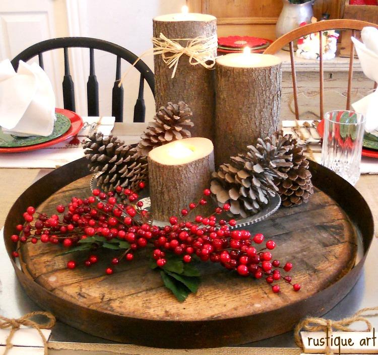 Rustic Candles With Pine-Cones in Tray