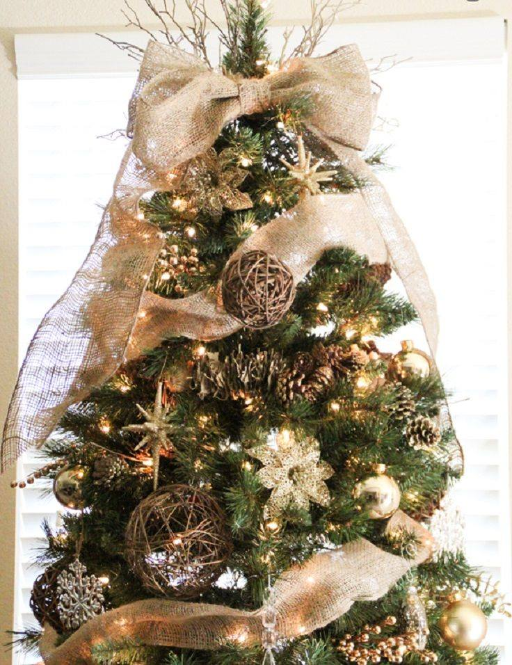 Rustic DIY Ornaments To Decor Tree With Burlap