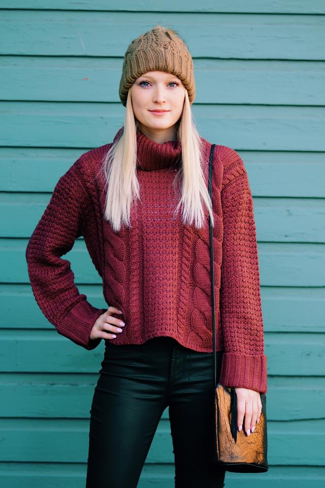 Sassy Handmade Cropped Sweater With Jeans And Woollen Cap
