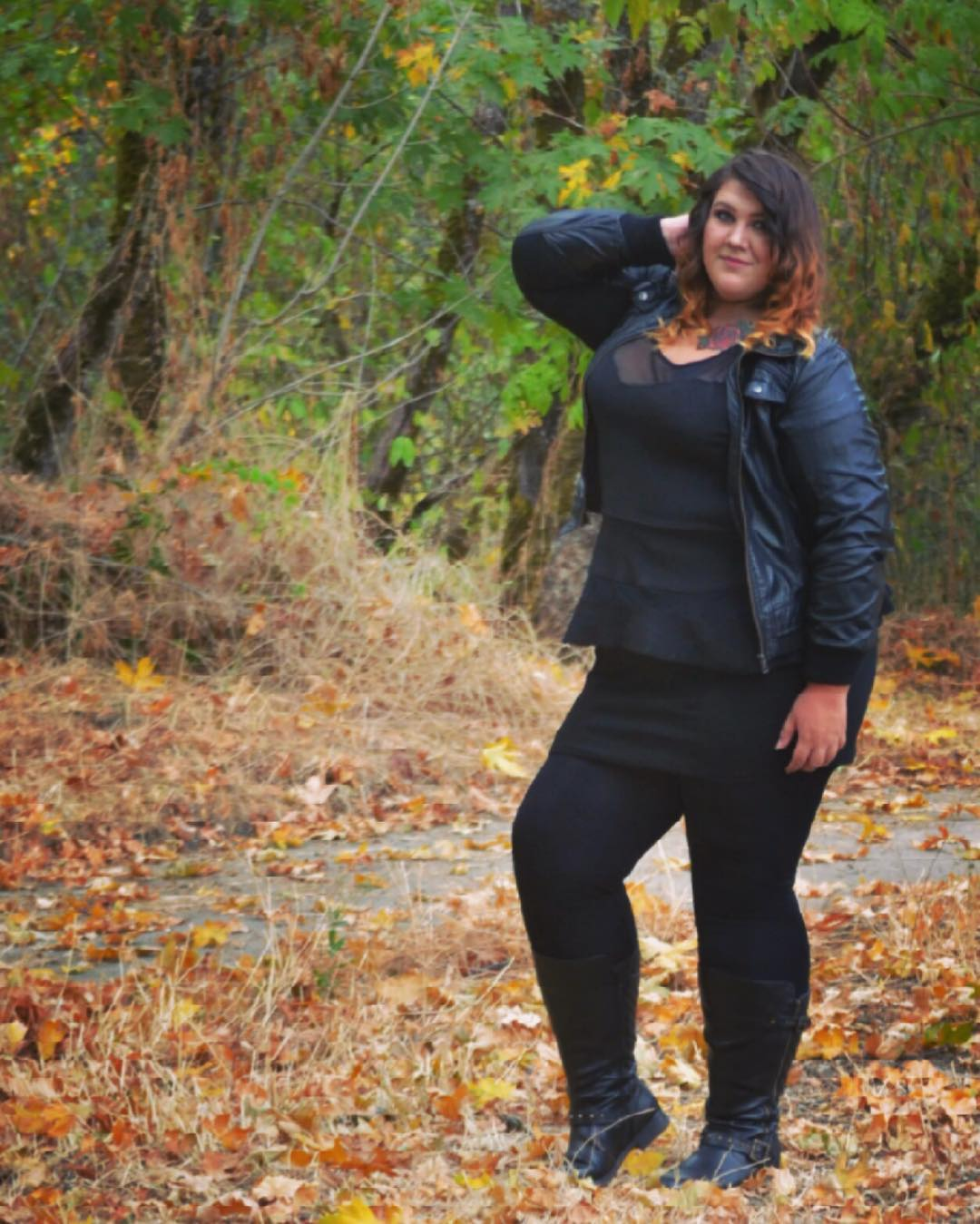Simple Black Top, Legging With Leather Jacket And Ankle Shoes