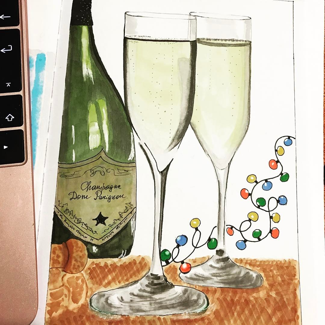 Sketch Champaign Bottle With Glasses On Card