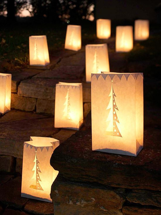 Smart Way To Decorate Outdoor By Paper Bags Cut Into Dramatic Luminarias